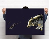 Poster series: wolf in the snow, wolf walking in snow, wolf, polar bear, arctic, bear cubs, snow, bear in snow