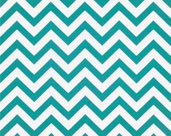 Premier Prints Cotton Duck Fabric, Zig Zag True Turquoise Fabric
