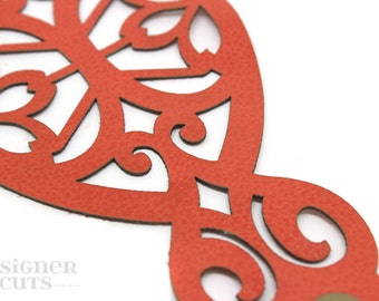 Laser cut leather cuff bracelet - orange filigree design