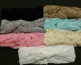 Set of 7 Baby Lace Braided Turban Headbands, Celtic Knot Baby Turban Headbands, Lace Headbands, Baby Turban Headbands, Turban Lace Headbands
