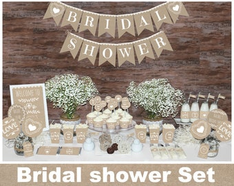 Rustic bridal shower decorations, Bachelorette party decorations, bridal shower decors, burlap bridal shower, Natural bridal shower