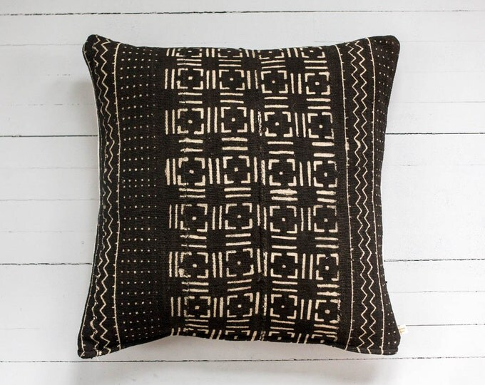 "Awa square: Vintage African Mud Cloth 20"" x 20"" pillow"