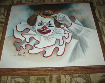Signed Masson Oil On Canvas Clown Oil Painting Collectors Corner certificate of authenticity! #BV