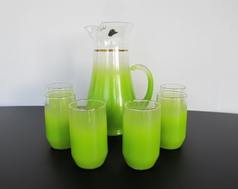 West Virginia Glass Company - Blendo Glass Pitcher Full Set with Six Glasses