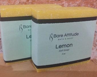 Lemon Sea Salt Soap Bar (Vegan, Palm Free)