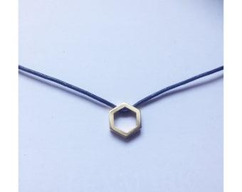 Hexagon and leather choker, geometric choker, geometric necklace, hexagon necklace, black leather choker, hexagon pendant