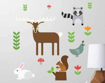 Forest Animals Wall Decal, Deer Wall Decal, Raccoon Wall Decal, Squirrel, Rabbit, Quail, Nursery Decal, Woodland Animals Wall Decal - SMALL