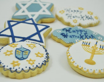 Assorted Happy Hanukkah Set of Decorated Sugar Cookies - 1 Dozen - Star of David - Menorah - Dreidel Game