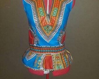 Turquoise African Dashiki Top with Peplum
