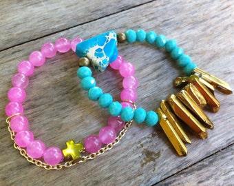 Cotton Candy Beaded Bracelet Set