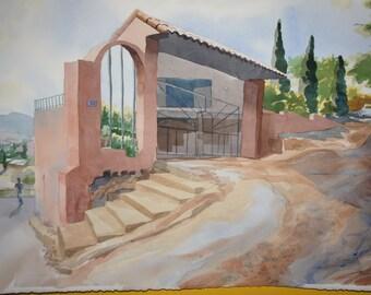 Original Watercolor, Sonoran Street Scene