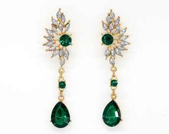 Phoenix wing shaped stunning drop dangle earrings, retro vintage inspired crystal rhinestone emeral green