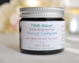 ORGANIC Smile Brightening Neem Tooth Paste, Organic Natural Detox Toothpaste, No Baking Soda Polish, Bentonite Clay, Charcoal, Strengthening