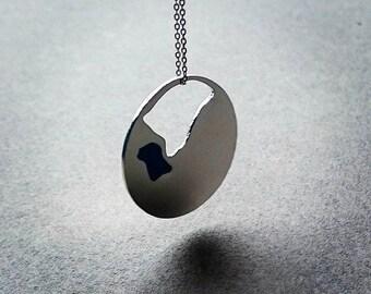 blue enamel necklace, women necklace, silver women necklace, blue necklace