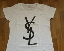YSL Logo  Women T-shirt YSL Women Tshirt Lady YSL Flowy Shirt