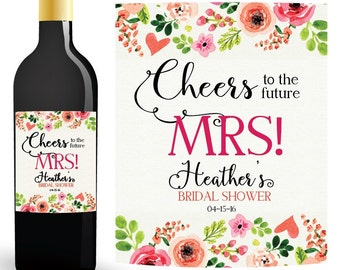 BRIDAL SHOWER WINE Labels, Personalized Wine Bottle Label, Wedding Wine Labels, Future Mrs Wine Bottle Label, Custom Wine Labels
