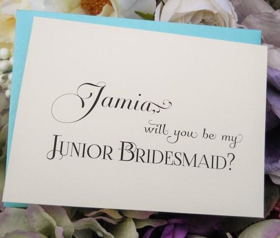 Wedding Gifts For Junior Bridesmaid : ... Wedding Note Card, Ask Junior Bridesmaid Card, Junior Bridesmaid Gift