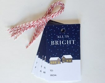 Christmas gift tags: All is bright