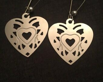 Stainless steel Heart Dangles