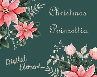 Digital Christmas Clipart, Hand Painted Acrylic Florals, Digital Clipart Poinsettia, Digital Acrylic Vintage Poinsettia. No. E32