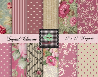 Digital Scrapbook Paper, Digital Paper, Shabby Rosa Digital Paper, Pink Floral Shabby Paper, Digital Shabby Printable Papers. No. P164