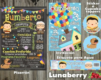 Blackboard Blackboard's birthday UP pixar c / invitation and tags UP pixar Birthday Chalkboard, Invitation, Water Label and cupcake toppers