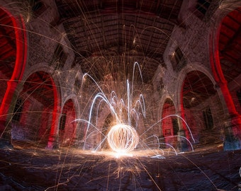 A3 Abandoned church, Lincolnshire lightpainting wirewool orb urbex print