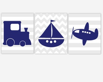 Canvas Baby Boy Nursery Navy Blue Gray Train Plane Sailboat Airplane Boat Transportation Canvas Prints Baby Nursery Decor CHOOSE COLORS