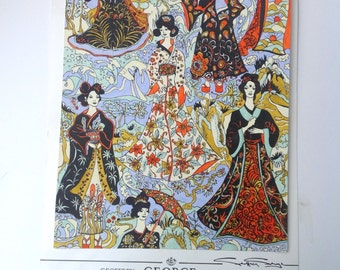 A Vintage painted Oriental design for textiles or wallpaper