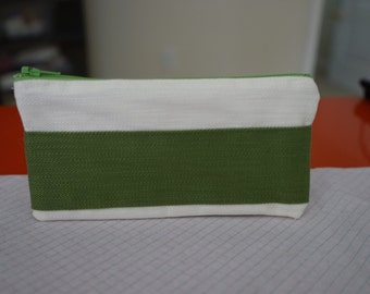Small White/Green pouch