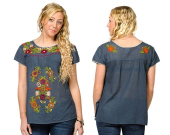 Short Sleeve Embroidered Peasant Blouse - Slate - 3110Y
