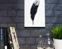 Feather String Art Unique Handmade Gift Idea Home Decor Wall Art Tribal Boho style Black and Silver decoration gift for her DeeisforDaisy