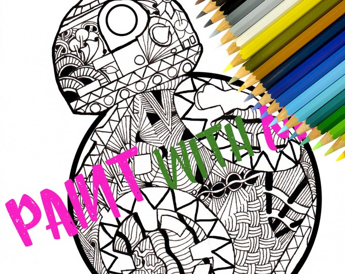 BB-8 DROID: Star wars Zentangle Coloring Page , Printable Doodle Adult Coloring, PDF Zentangle Coloring Page, Line art, Printable Coloring