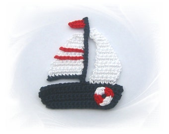 Sailboat patch, ship, crochet, sew-on patches, Sailboat, sailing ship, patch