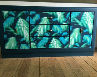 upcycled spray-painted retro sideboard