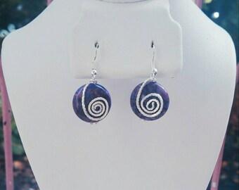 Purple agate simple drop earrings
