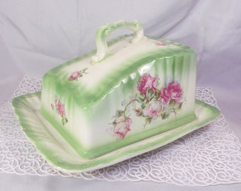 Antique Cheese Dish w/ Lid in Green, Pink White Rose Porcelain China ~ Franz Anton Mehlem & Bonn Rhein German Porcelain Country Cottage Chic