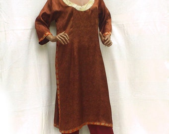 Indian dress/tunic with sleeves 3/4 copper Brown, long tunic, Indian tunic women, Indian dress, Indian Crafts