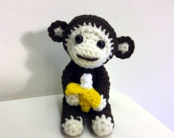 Crochet Marcel the Monkey Amigurumi Pattern, Monkey, Banana, baby, Year of the Monkey, baby, kids, toddlers
