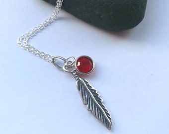 Sterling Silver Feather Necklace - Birthstone Necklace - Personalized Necklace - Swarovski Birthstone