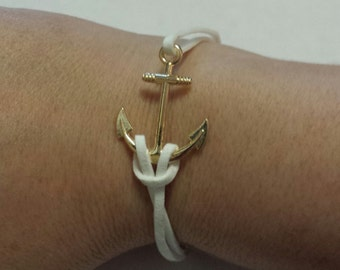 White Leather and Gold Arrow Bracelet