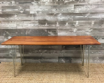 Reclaimed Mahogany Hairpin Table