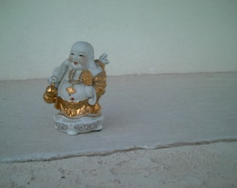 Estate Vintage Chinese White Porcelain & Gold Beaded Gilt Laughing Buddah Statue Figurine
