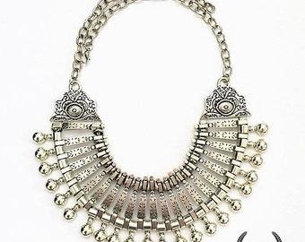 Boho Statement Silver Necklace cruise festival wedding prom jewellery - YINDI Necklace
