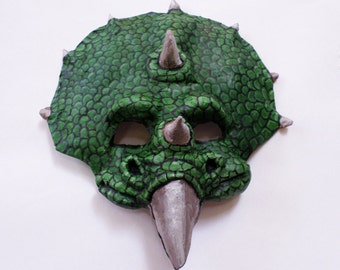 Triceratops Mask, dinosaur, unique mask, paper mache, wearable