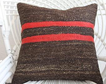 black red stripes kilim pillow cover 18x18 flat woven Turkish kilim pillow 18x18 home decor kelim kissen 18x18 vintage kilim pillow 192