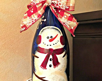 Snowman Recycled Wine Bottle Light