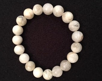 white moonstone 10mm stretch bead bracelet