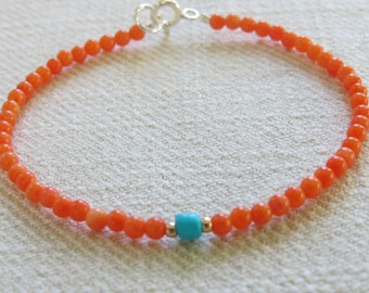 Orange Coral Bamboo Beaded Bracelet
