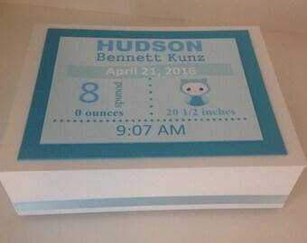 Baby Memory Box, Birth Announcement Keepsake Box, Baby Boy Keepsake, Baby Girl Keepsake, Personalized Box